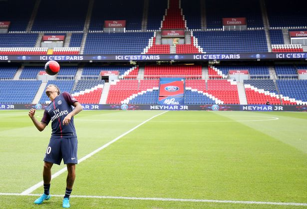 Neymar takes to the Parc des Princes pitch for the first time (Image: Rex Features)