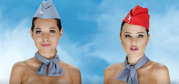 Bizarre budget airline advert featuring nak*ed air hostesses to promote bargain deals