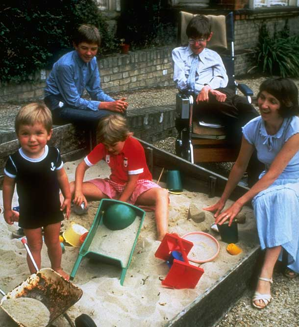 Stephen Hawking with his wife Jane and children Tim, Robert, and Lucy in the early 1980s (Pic: Getty Images)
