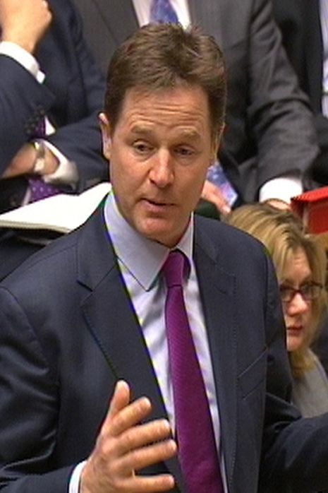 Nick Clegg speaks during Prime Minister's Questions in the House of Commons