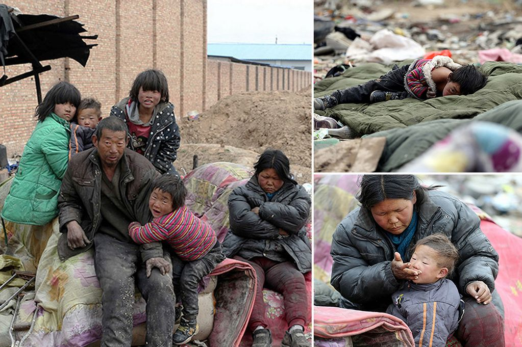 A family, fathered by Yang Songshi, 50, who have been living in a rubbish dump for 20 years have forced local officials into action after their situation was made public