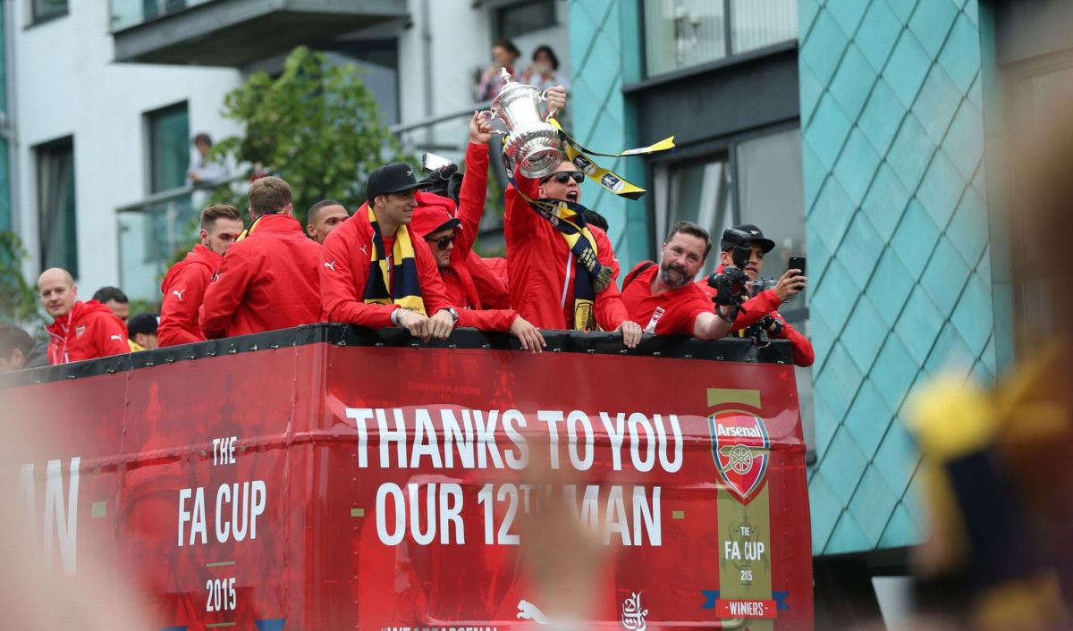 Arsenal celebrate with the FA Cup during the parade