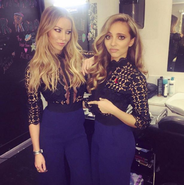Lauren Pope & Jade Thirlwall are both seen as they leave The X Factor results show in wembley wearing the same Outfits
