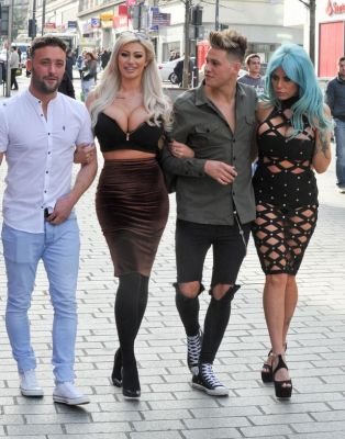 Geordie Shore new boy Marty McKenna and Star Sophie Dalzell enjoy a shopping trip with Dan Thomas and Model Tia Clegg in Liverpool