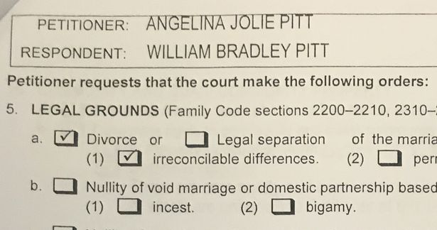 A copy of papers filed at Los Angeles Superior Court by Angelina Jolie shows her petition for divorce from her husband Brad Pitt