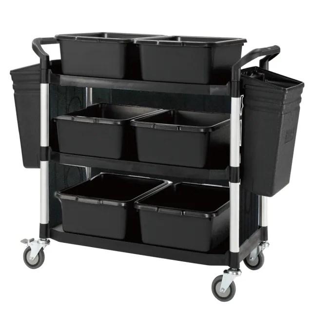 【COLOR】豪華大型3層三面圍邊工具/餐推車(全配件-高級儀器輪)