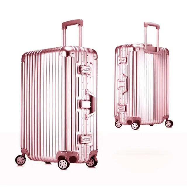 時尚經典26吋鋁框PC鏡面行李箱(買一送三超划算)