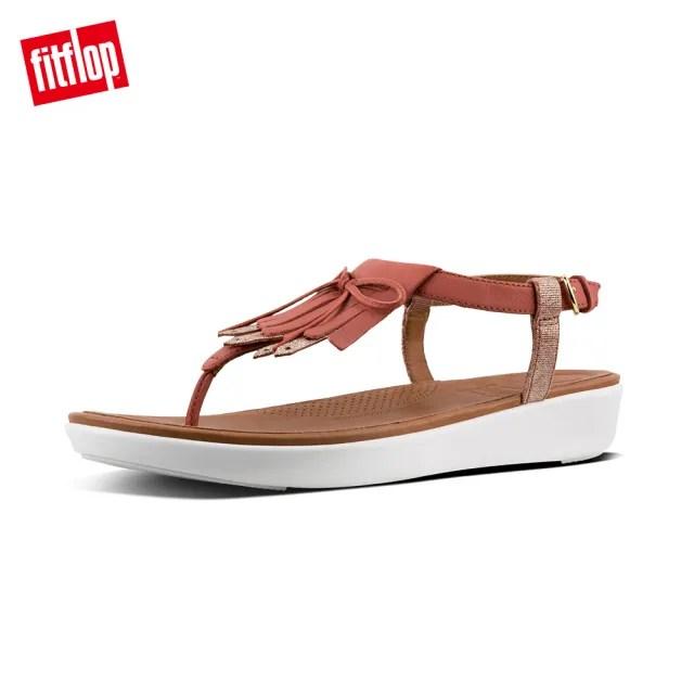 【FitFlop】TIA FRINGE TOE THONG SANDALS LEATHER  雙層皮革流蘇和蝴蝶結設計後帶涼鞋-女(磚紅/金箔色)