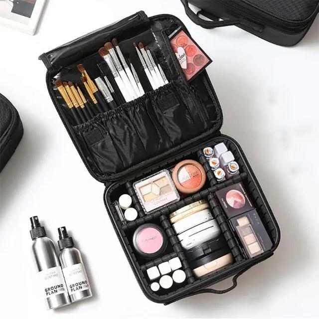 豪華多功能隔層分類化妝包 彩妝保養品收納 眼影粉餅刷具唇膏 旅行旅遊 新娘秘書必備 硬殼刷具包