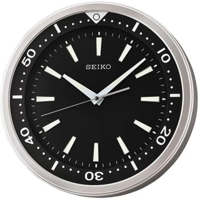 【SEIKO 精工】QXA723A 潛水錶造型夜光黑水鬼掛鐘