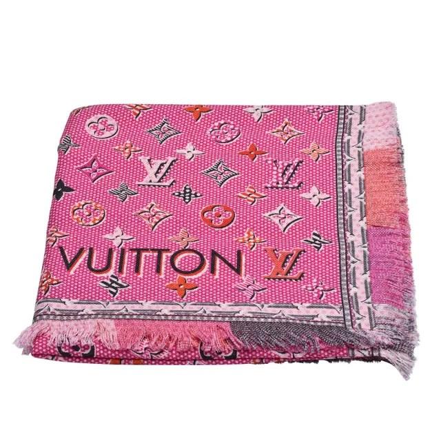 【Louis Vuitton 路易威登】M71399 Pop Monogram雙面彩色織花純棉披巾/圍巾(粉紅色)
