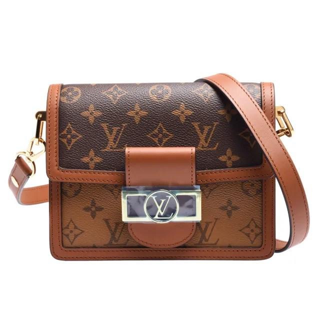 【Louis Vuitton 路易威登】M44580 MINI DAUPHINE系列帆Reverse皮革飾邊帆布肩/斜背包