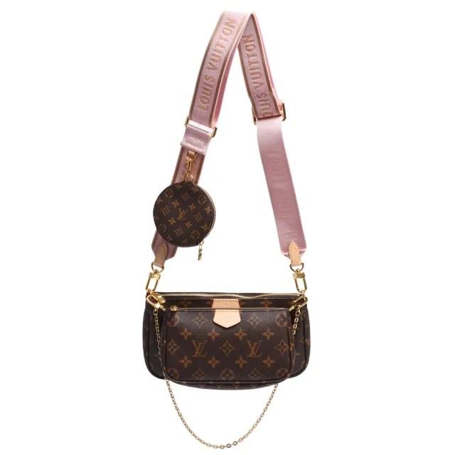 【Louis Vuitton 路易威登】M44840 Multi Pochette經典帆布牛皮飾邊提花肩帶混合式手拿/肩背包(淺粉色)