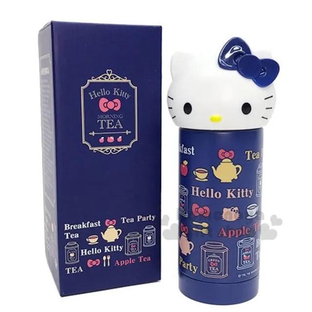 〔小禮堂〕Hello Kitty 造型不鏽鋼水壺《深藍.大臉.蘋果茶.230ml》Vivitix午茶系列