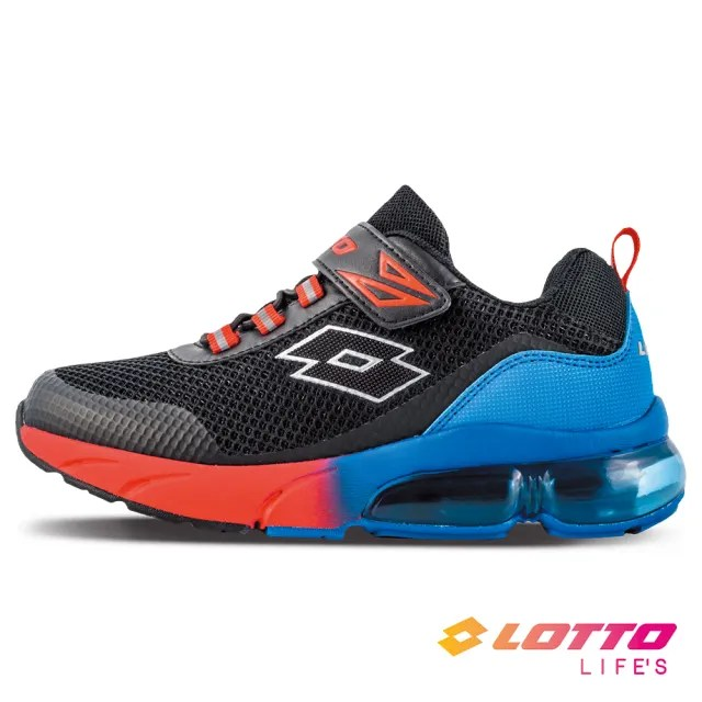 【LOTTO】運動鞋 兒童鞋  Shiny 閃耀氣墊跑鞋(黑藍紅-LT1AKR3071)