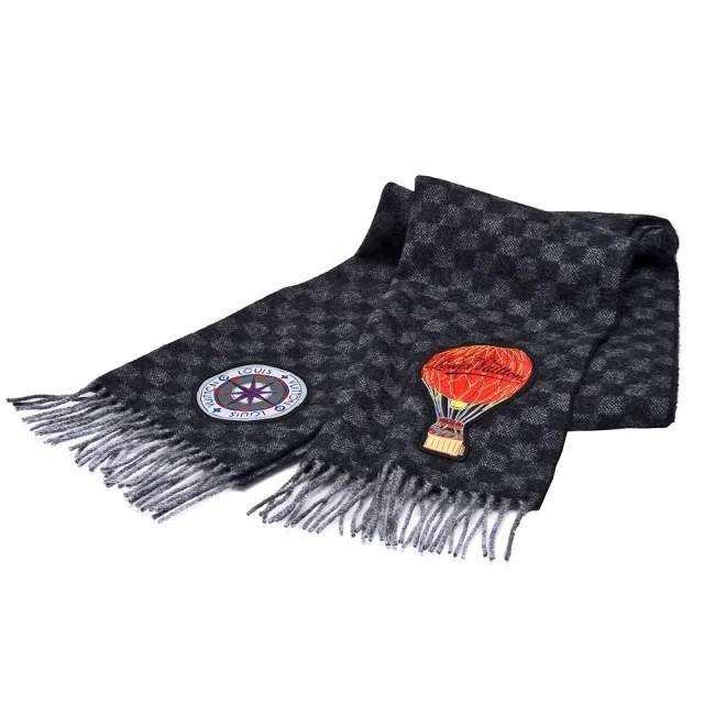 【Louis Vuitton 路易威登】M75901經典DAMIER GRAPHITE MAP CITY羊毛圍巾