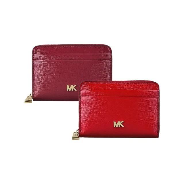 【Michael Kors】MICHAEL KORS MOTT金字LOGO漆皮8卡拉鏈零錢包(多色)