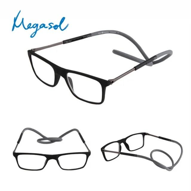 【MEGASOL】年輕文青大框中性摺疊項鍊掛脖磁吸老花眼鏡(日式掛繩項鍊灰色-HG080-GR)