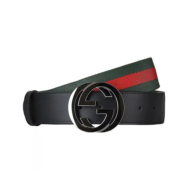 【GUCCI 古馳】GUCCI經典金屬雙G LOGO綠紅綠織帶拼接牛皮釦式皮帶(黑)
