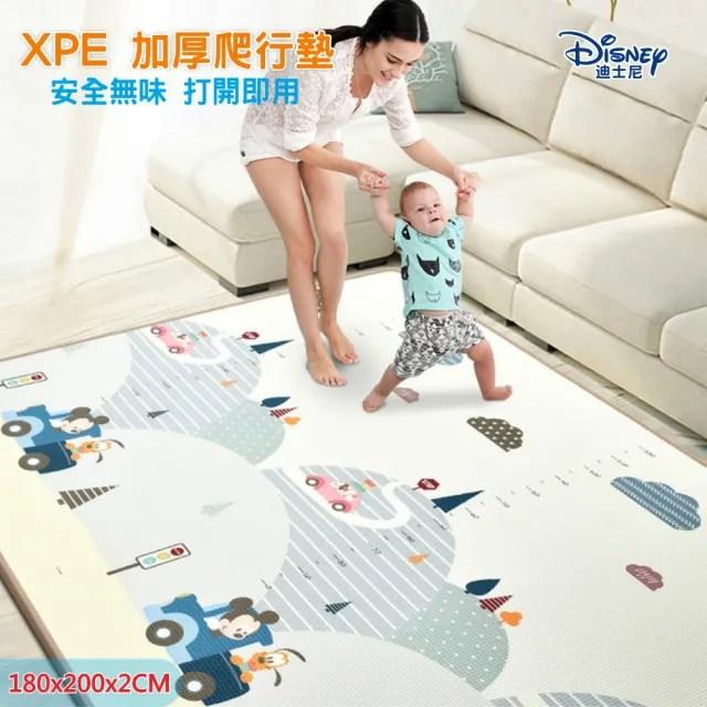 【Disney 迪士尼】XPE双面整張式加厚兒童安全爬行墊 寶寶遊戲墊 地墊(米奇 米妮 唐老鴨 小熊維尼 瑜珈墊)
