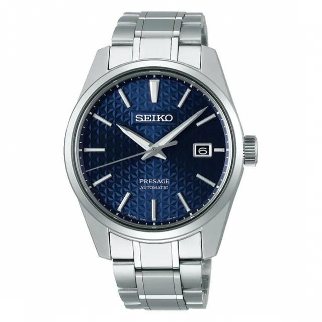 【SEIKO 精工】PRESAGE調酒師Sharp Edged Series藍面設計款機械錶39.3mm(SPB167J1/6R35-00V0B)