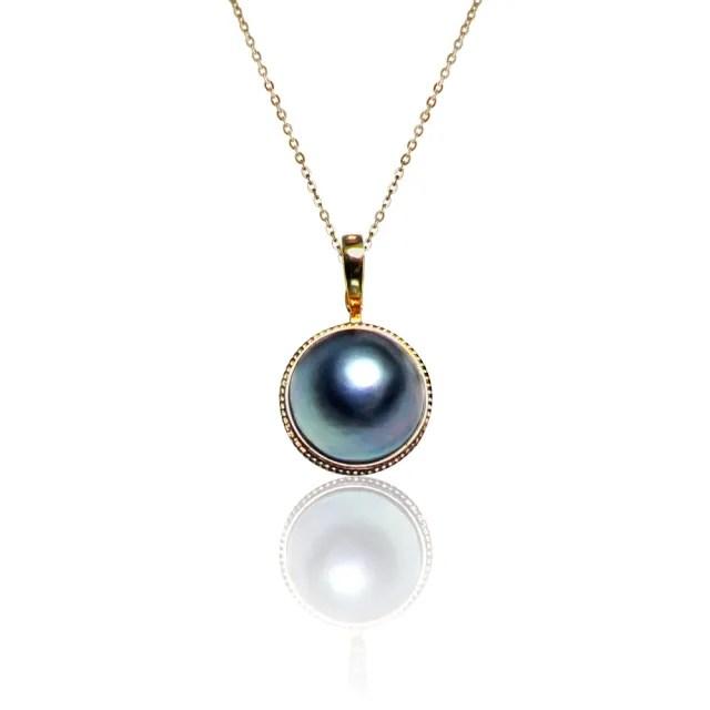 【大東山珠寶】月光之珠 天然馬貝珍珠14K金可開式墜鍊(馬貝海水珍珠/14K/活扣)