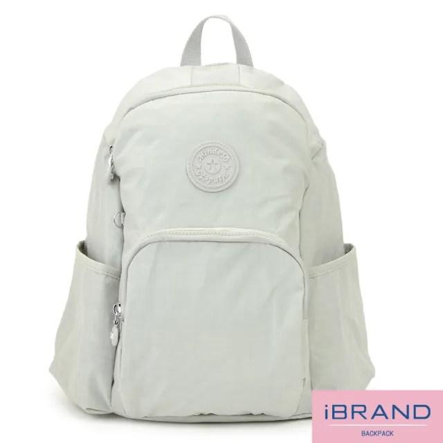 【i Brand】輕盈防潑水防盜尼龍後背包(米白)