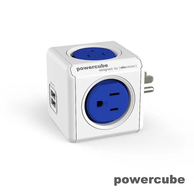 【索樂生活】荷蘭PowerCube 擴充插座4面3孔雙USB兩用(自動斷電保護積木堆疊魔術方塊任意轉接)