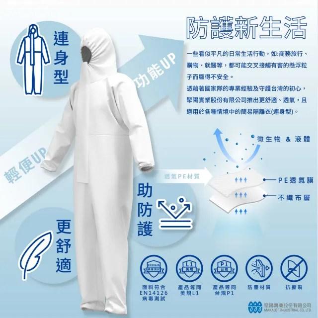 【Isocover】聚陽隔離衣/連身型/P1&L1等級防護/台灣製造/單件包/L(MIT、連身、防護隔離、P1、不含鞋套)