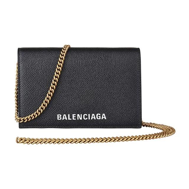 【Balenciaga 巴黎世家】BALENCIAGA巴黎世家經典EVERYDAY白字LOGO小牛皮6卡釦式斜背中夾(黑)