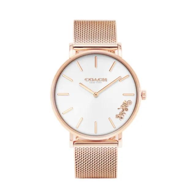 【COACH】經典馬車玫瑰金系 白面 米蘭錶帶 【贈粉色尼龍錶帶】(CO14503126)