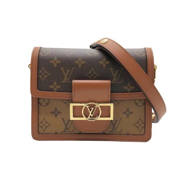 【Louis Vuitton 路易威登】Mini Dauphine 帆布肩/斜背包(M44580-咖)