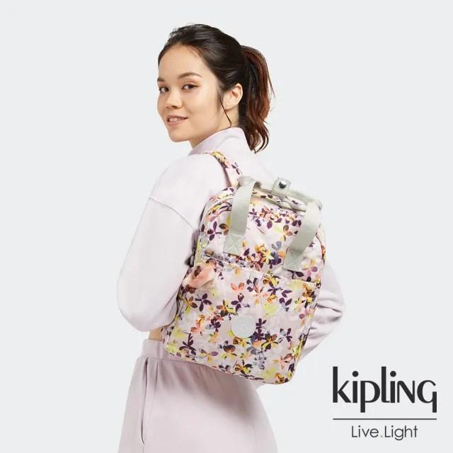 【KIPLING】飄零落花粉手提兩用後背包-SIVA