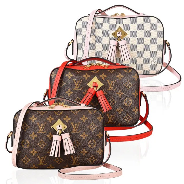 【Louis Vuitton 路易威登】LV SAINTONGE系列流蘇設計帆布拉鍊手提斜背包(三色任選)