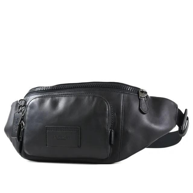 【COACH】男款 小牛皮雙層拉鍊置物單肩/腰包-黑色