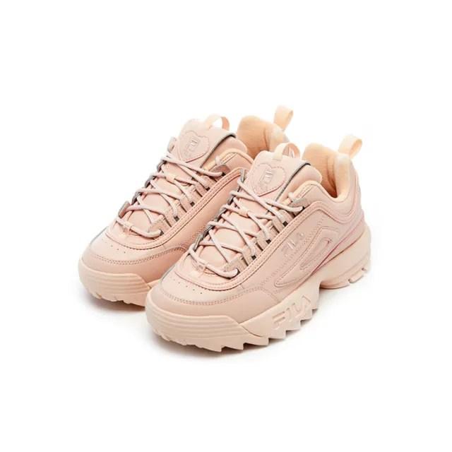 【FILA】女鞋 運動鞋 老爹鞋 鋸齒鞋  DISRUPTOR2 HEART 情人節限定女運動鞋-愛心粉(5-C608V-661)