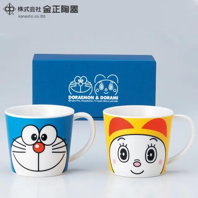 【Doraemon 哆啦A夢】日本金正陶器 哆啦A夢 哆啦美陶瓷馬克杯2入組 280ml(日本製 日本原裝進口瓷器)