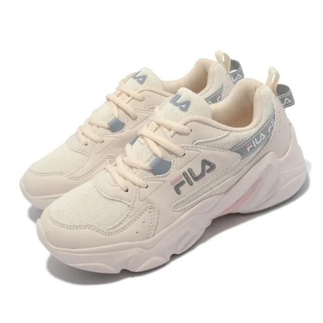 【FILA】休閒鞋 Hidden Tape 2 厚底 老爹鞋 女鞋 斐樂 修飾線條 穿搭推薦 皮革鞋面 淺褐 灰(5J929V177)