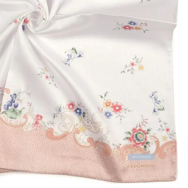 【WEDGWOOD】Rococo Flowers洛可可花系列純綿帕巾領巾(粉色)