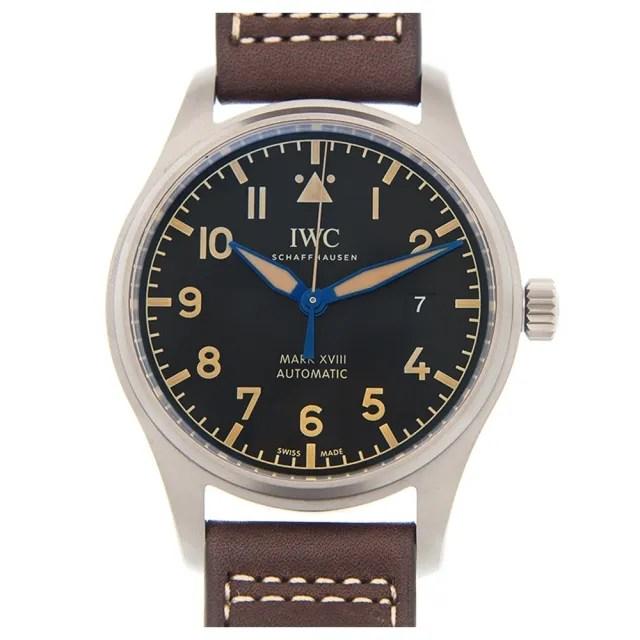 【IWC 萬國錶】馬克十八飛行員鈦金屬皮帶款x黑面x40mm(IW327006)