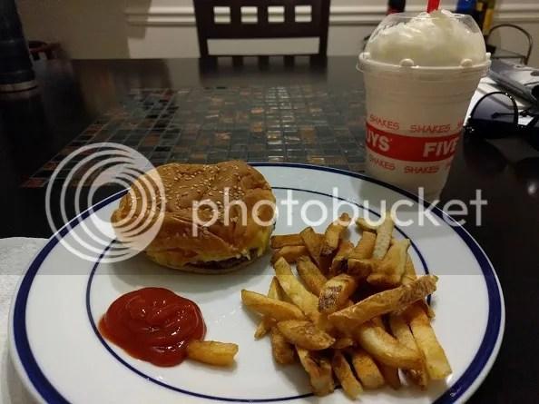 Victory Cheeseburger and Strawberry Milkshake