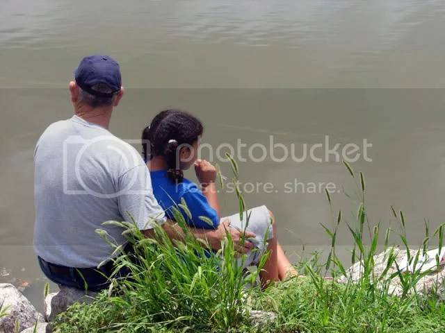 David and Kaylea watching the water rise