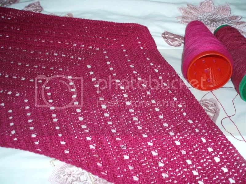 Work in progress on my Raspberry Lace Shawl