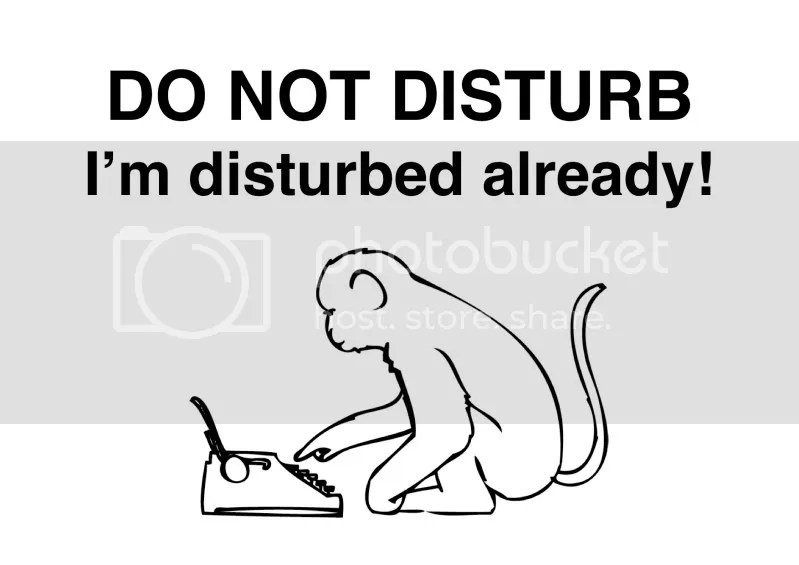 do not disturb the typing monkey