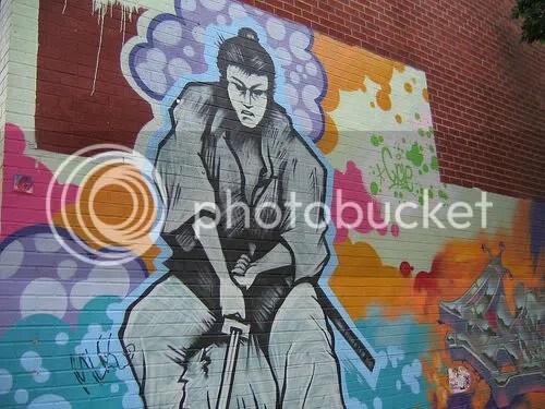 samurai graffiti art on Bedford Ave and North 4th (detail)