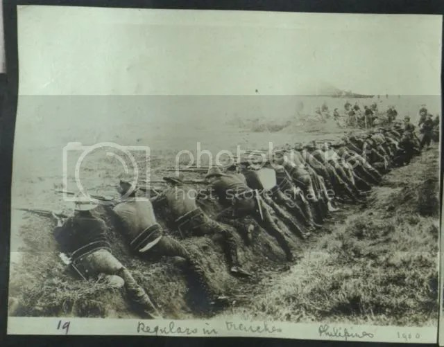 In the Trenches! U.S. Regulars in Trenches, Philippines, (Heller Collection).