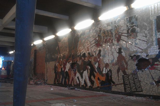 The Chartist Mural in Newport before demolition