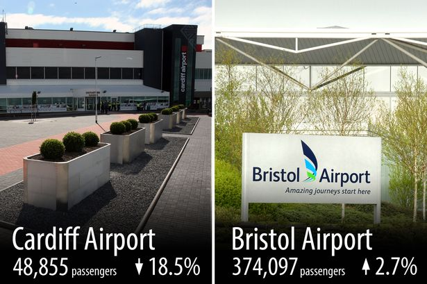 Bristol Airport and Cardiff Airport's year-on-year passenger performance for November 2014