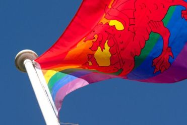 Rainbow flag at RCT council offices in Clydach Vale