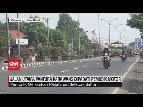Jalan Utama Pantura Karawang Mulai Dipadati Pemudik Motor